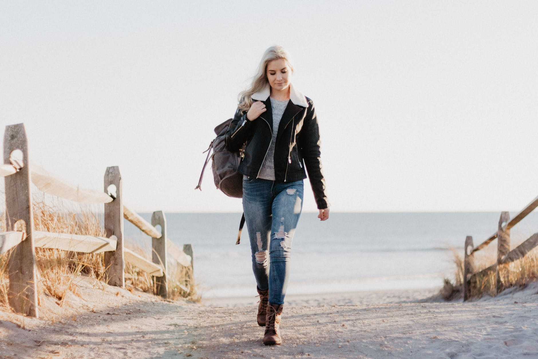 Woman Walking at Beach